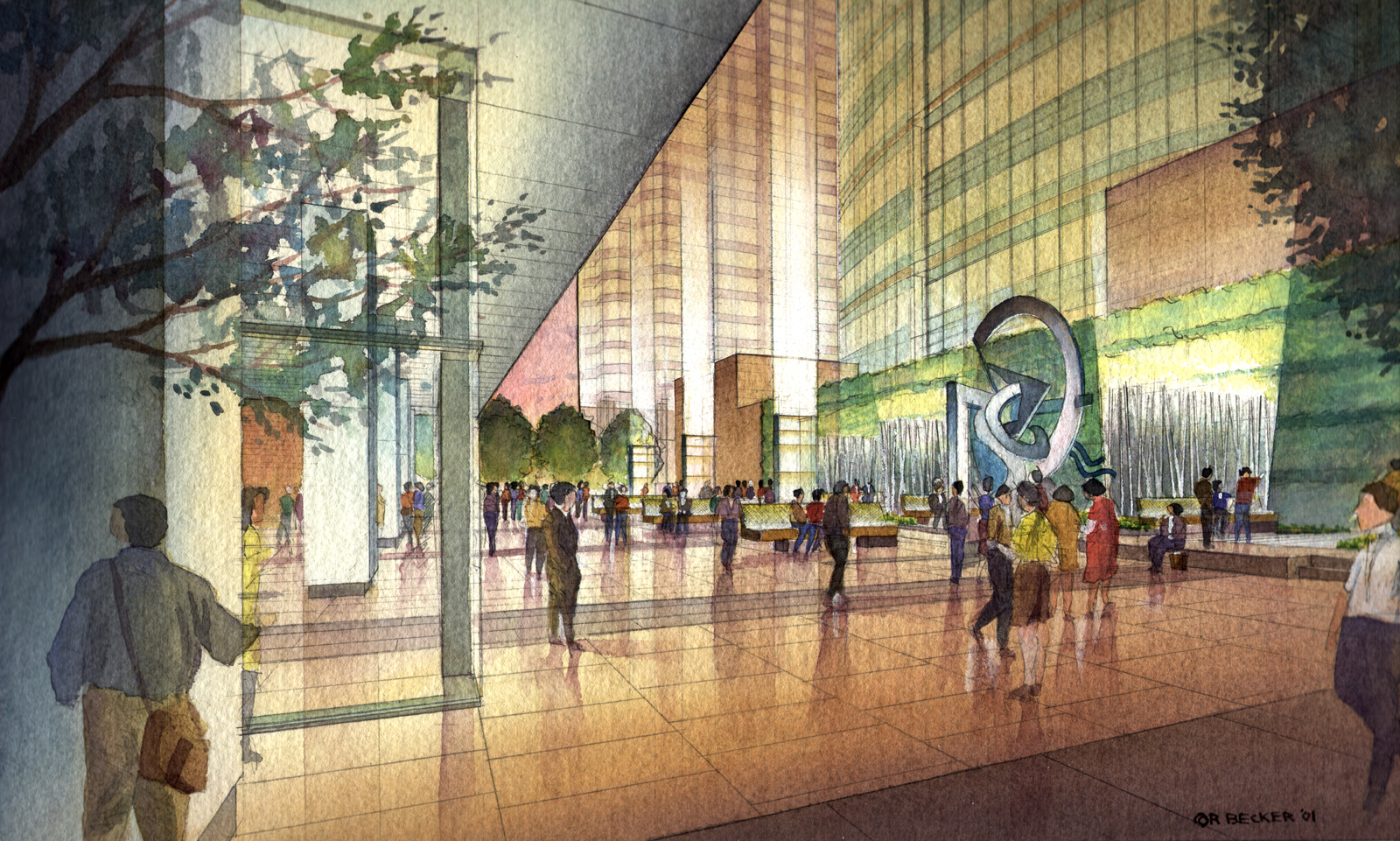 TSP 555 Plaza Watercolor rendering