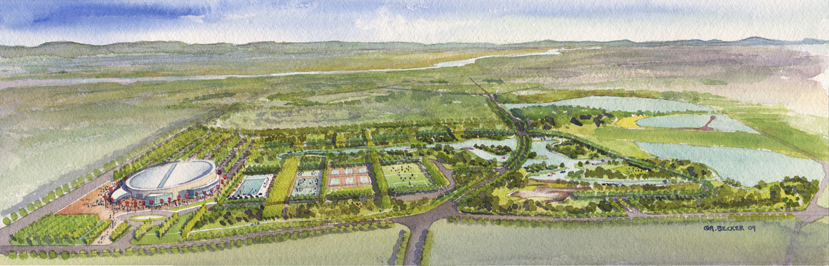 Sanshui Sports Park aerial watercolor rendering