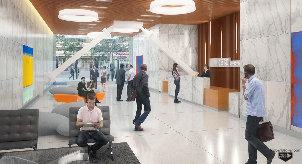 1330 Broadway Oakland photomontage lobby rendering