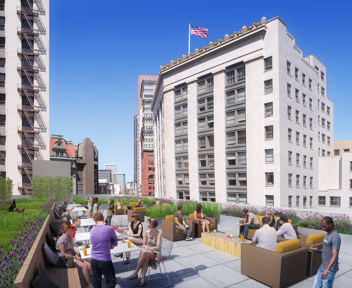 photorealistic roof deck San Francisco rendering