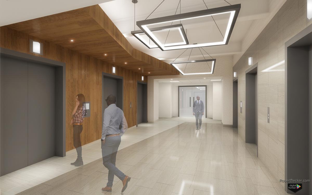 photorealistic lobby rendering