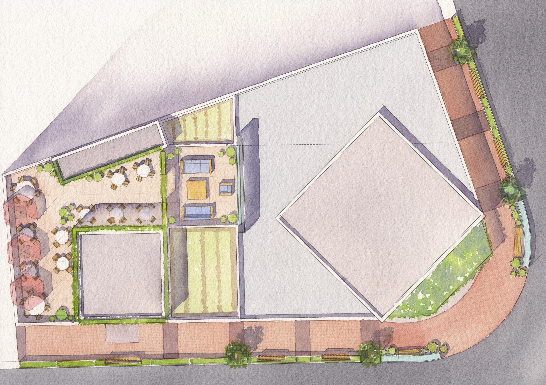 1500 Mount Diablo Walnut Creek watercolor site plan