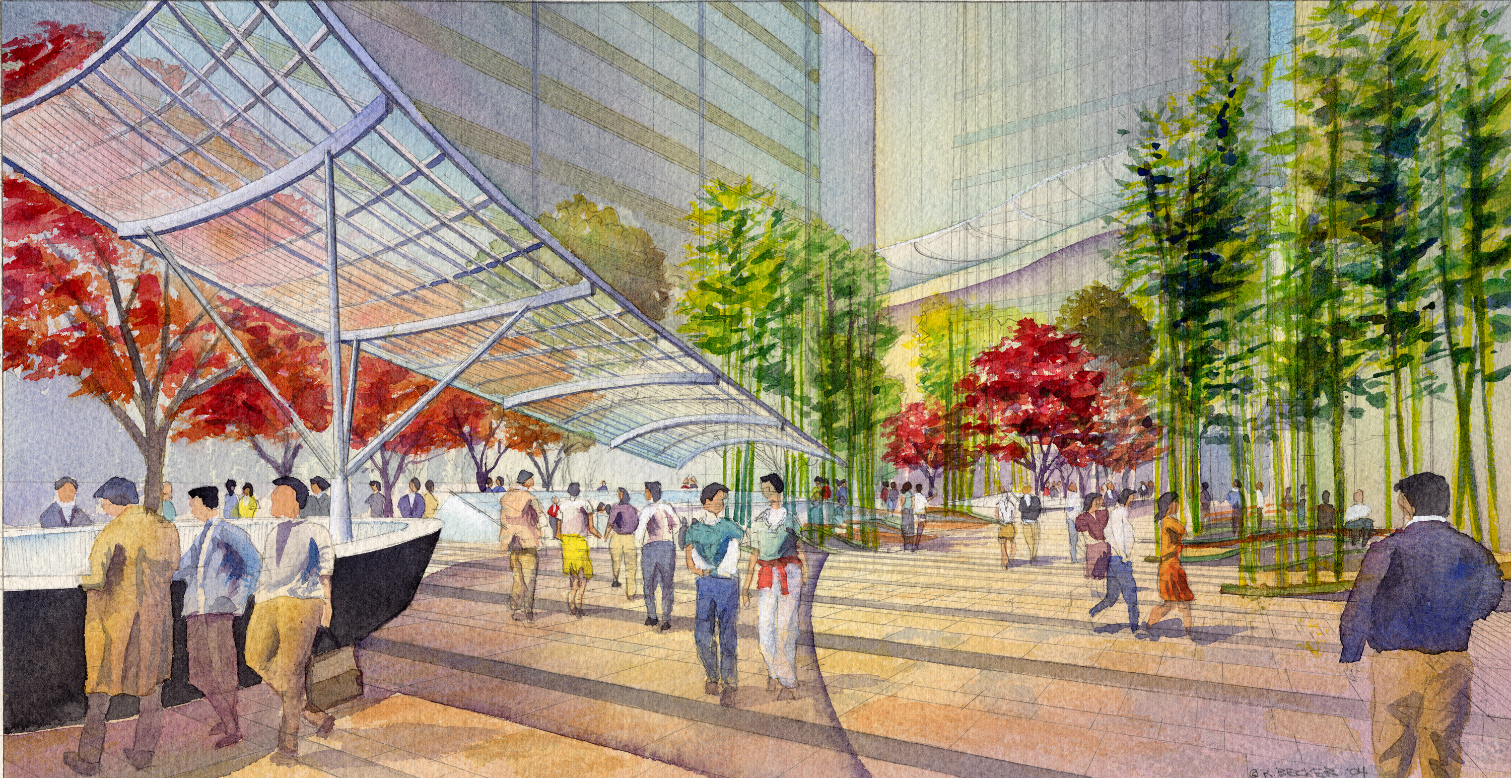 EDAW_Roppongi_Canopy_Architectural_Rendering_Watercolor