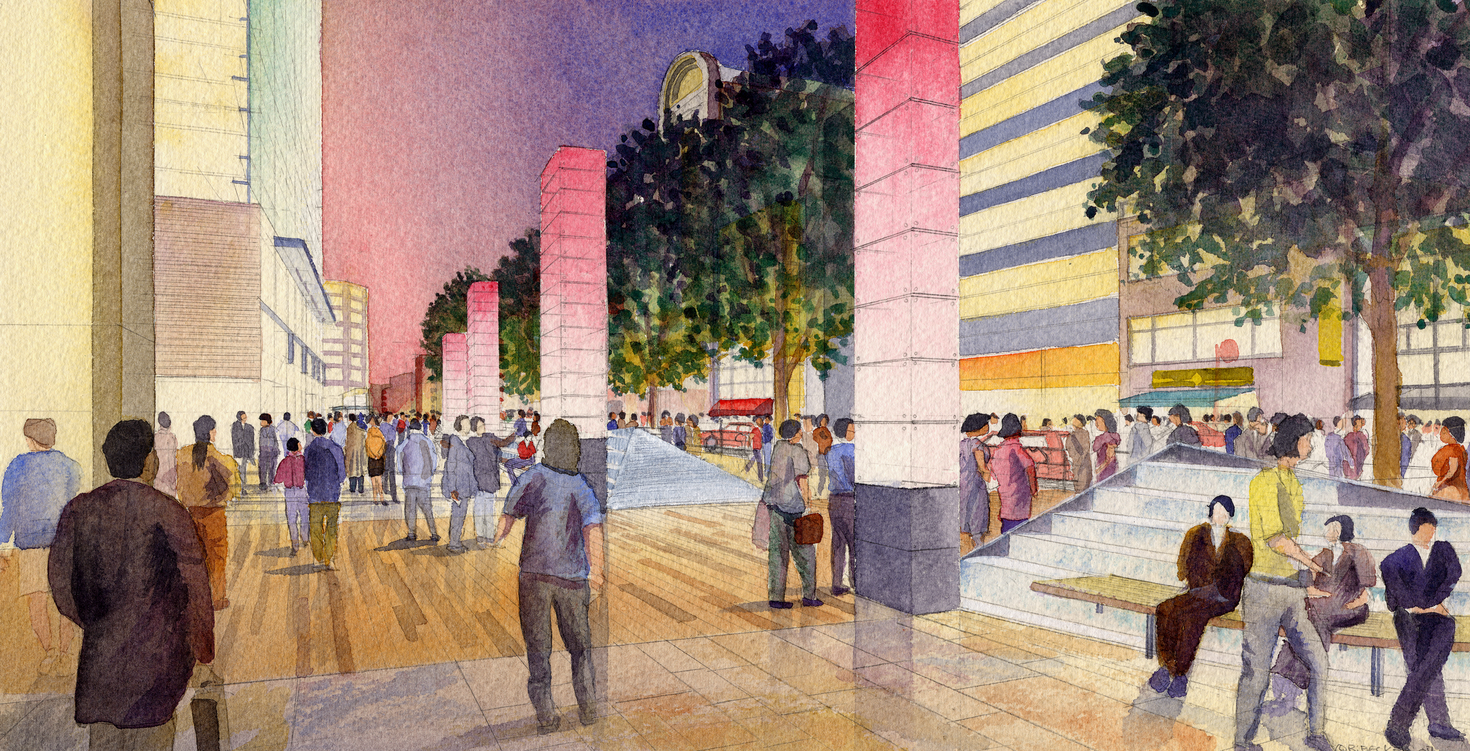 EDAW_Roppongi_Street_Architectural_Rendering_Watercolor