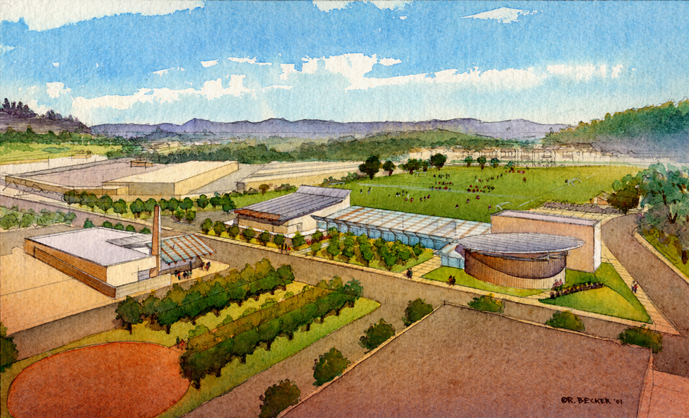 GHCP Scotts Valley Aerial watercolor master plan rendering