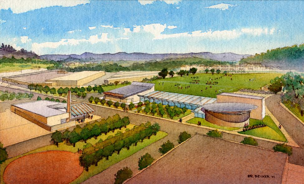 GHCP Scotts Valley Aerial watercolor master plan rendering