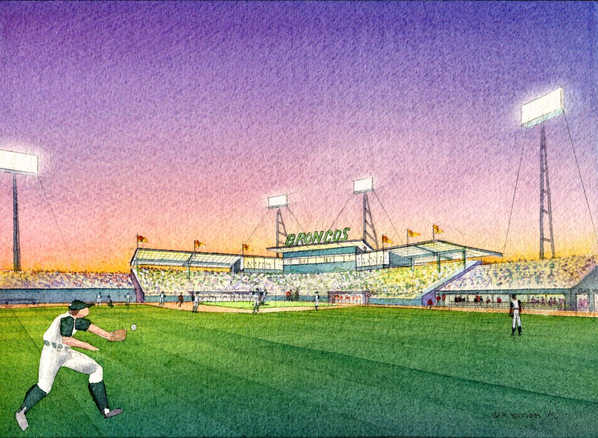 HGA calpoly Baseball watercolor rendering