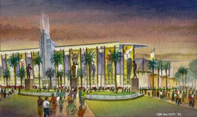 Hollywood Park NFL watercolor sketch rendering