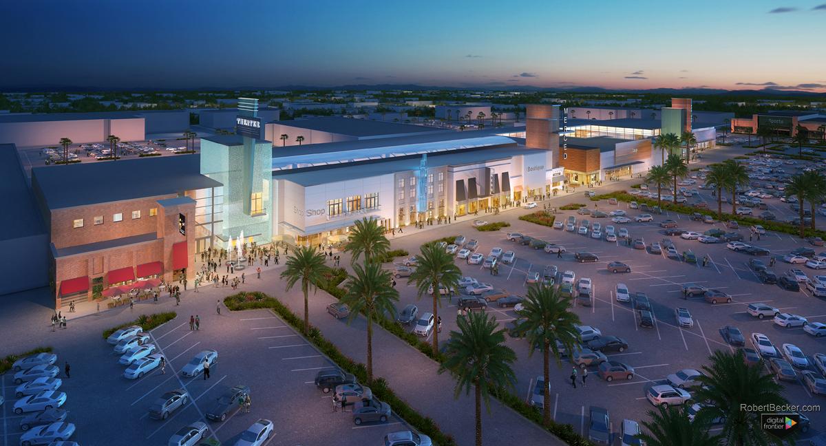Merced Mall night aerial rendering