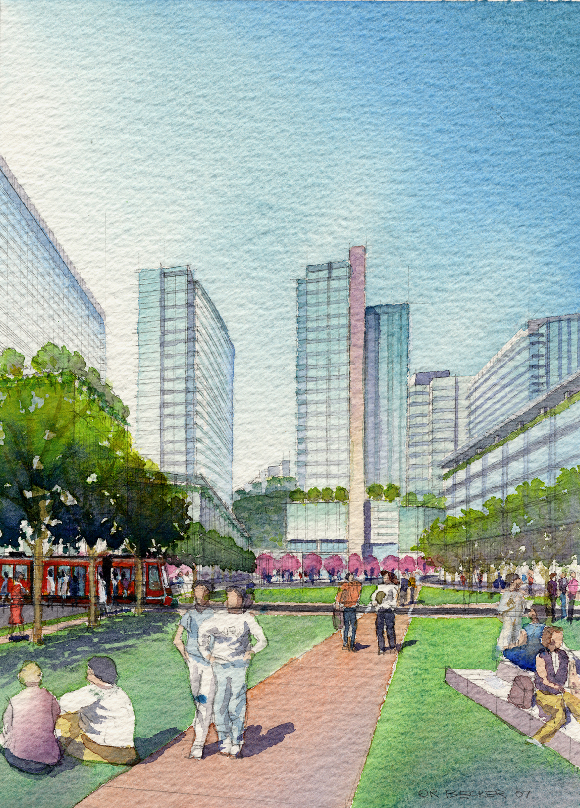 PW ohsu Schnitzer Green masterplan watercolor rendering