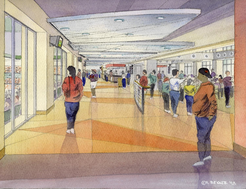 Pac Bell Club Corridor watercolor sketch