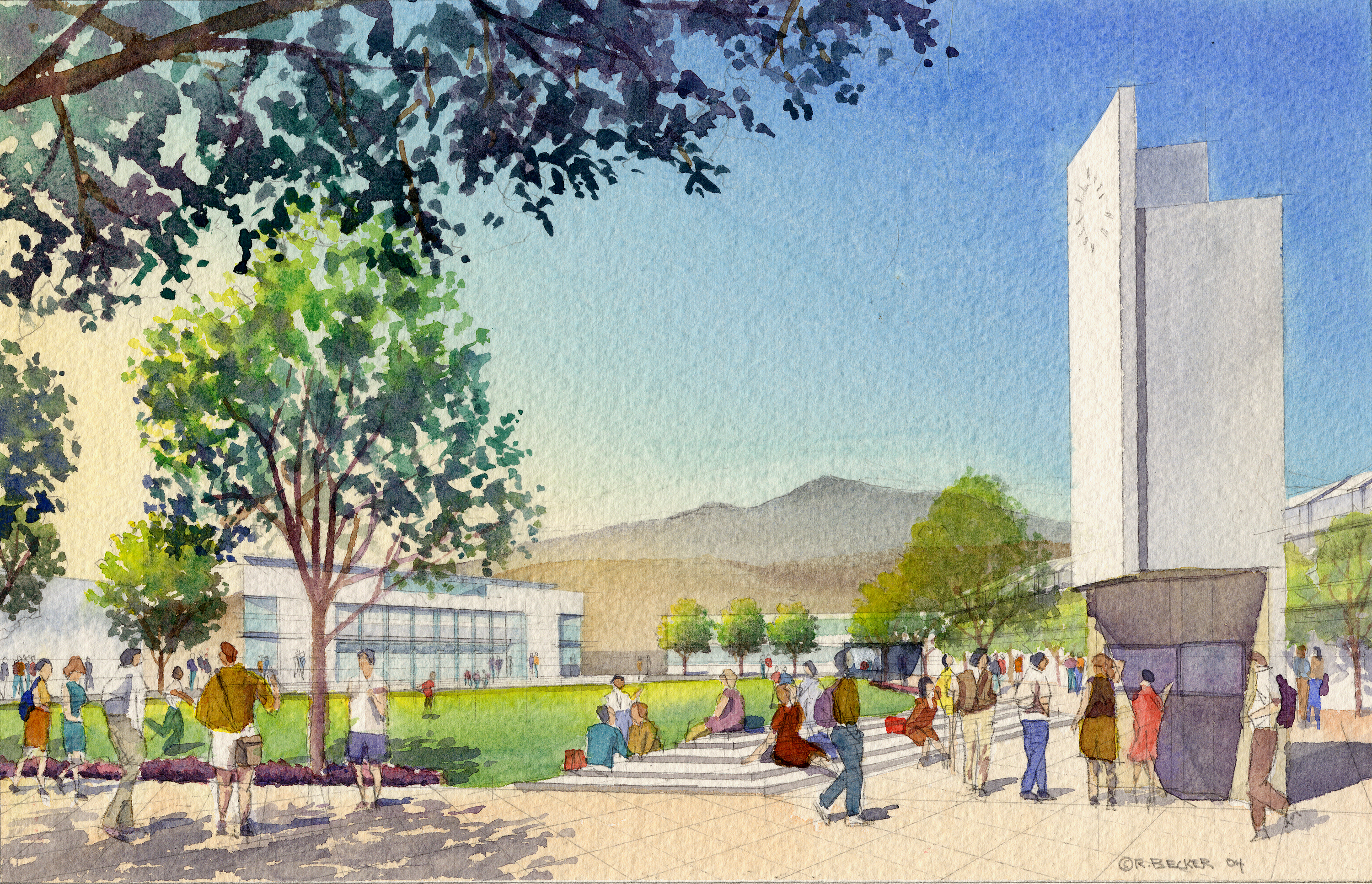 PerkinsAndWill_MiramarQuad_Architectural_Rendering_Watercolor