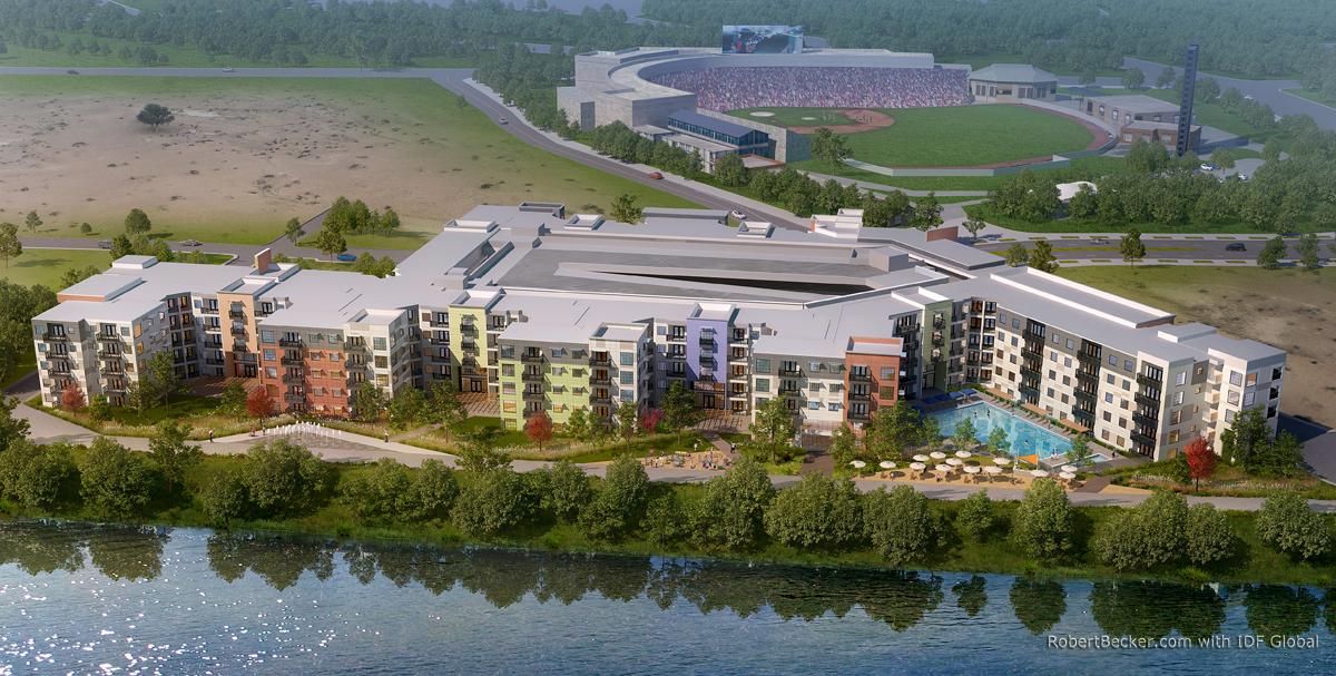 Sacramento aerial apartment rendering