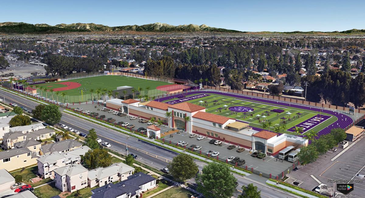 SAHS – Athletic Fields Masterplan aerial rendering