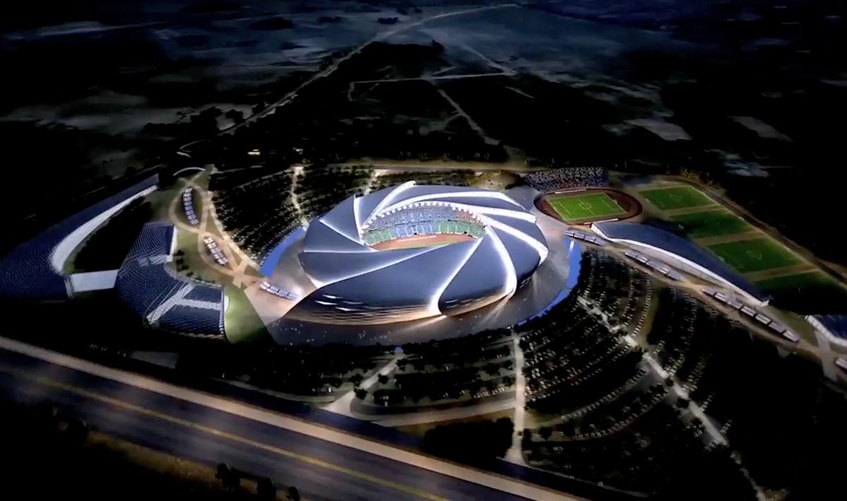 stadium architectural aerial rendering