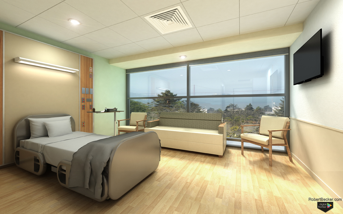 Sutter Health Alta Bates Medical Center patient room rendering