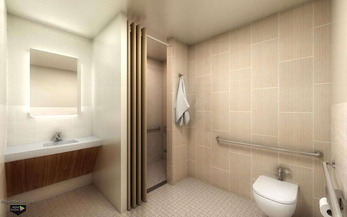 Hospital bathroom rendering