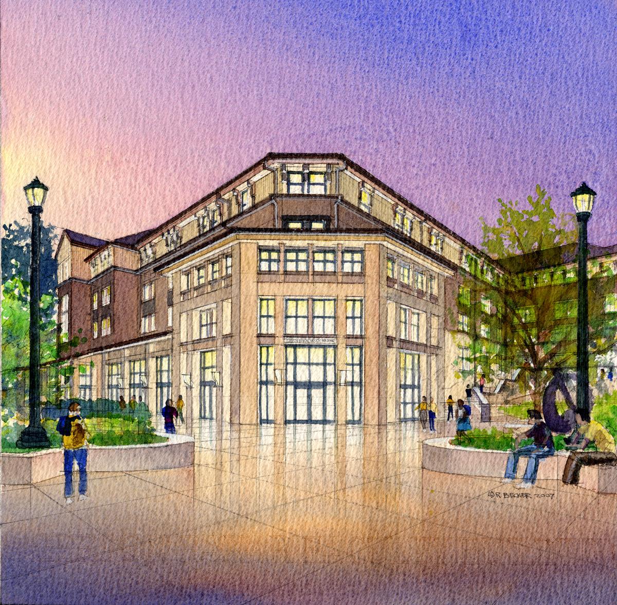 UC Berkeley Bakar watercolor rendering