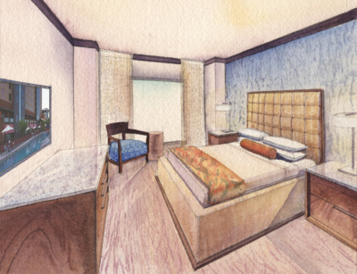 hotel room watercolor rendering