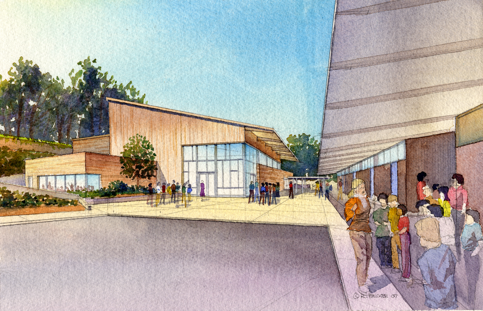 WRNS Hillsborough North School watercolor rendering