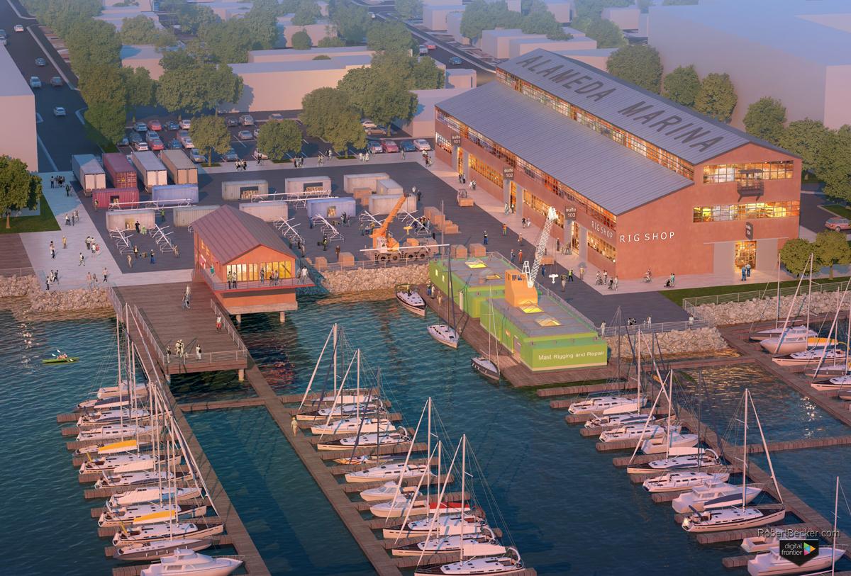 Alameda Marina aerial digital rendering