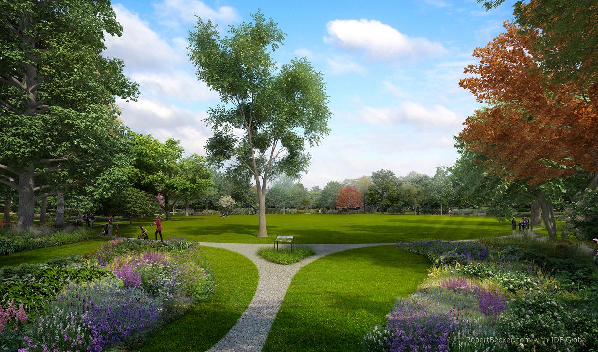 Arboretum digital photorealistic 3d rendering