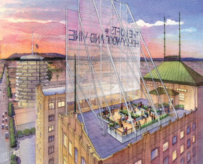 Hollywood & Vine Roof Deck watercolor rendering