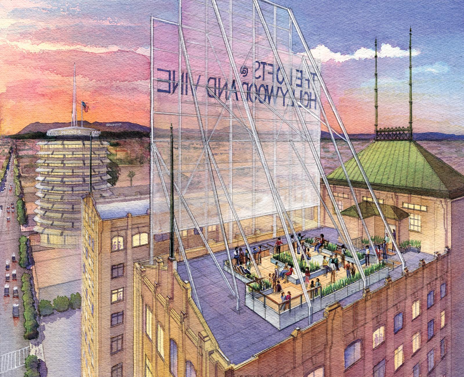 Hollywood & Vine Roof Deck watercolor rendering