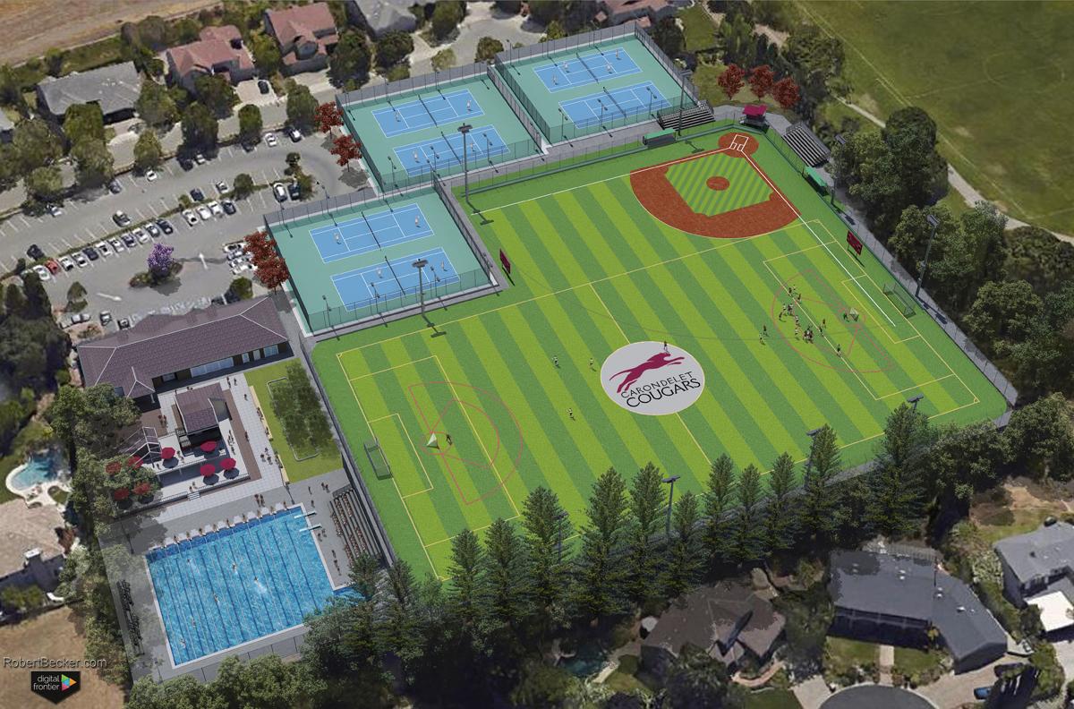 Carondelet Sports Complex photorealistic aerial rendering