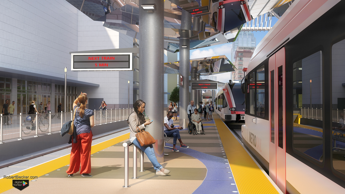 CMTA Downtown Station lightrail digital rendering