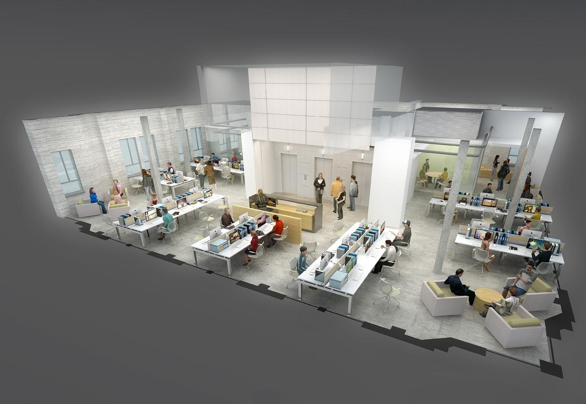 Floor 21 Office cutaway digital rendering