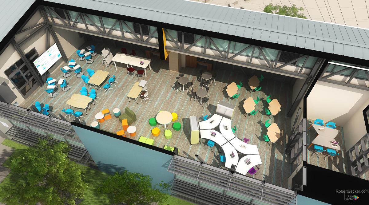 Folia Interior section perspective digital rendering
