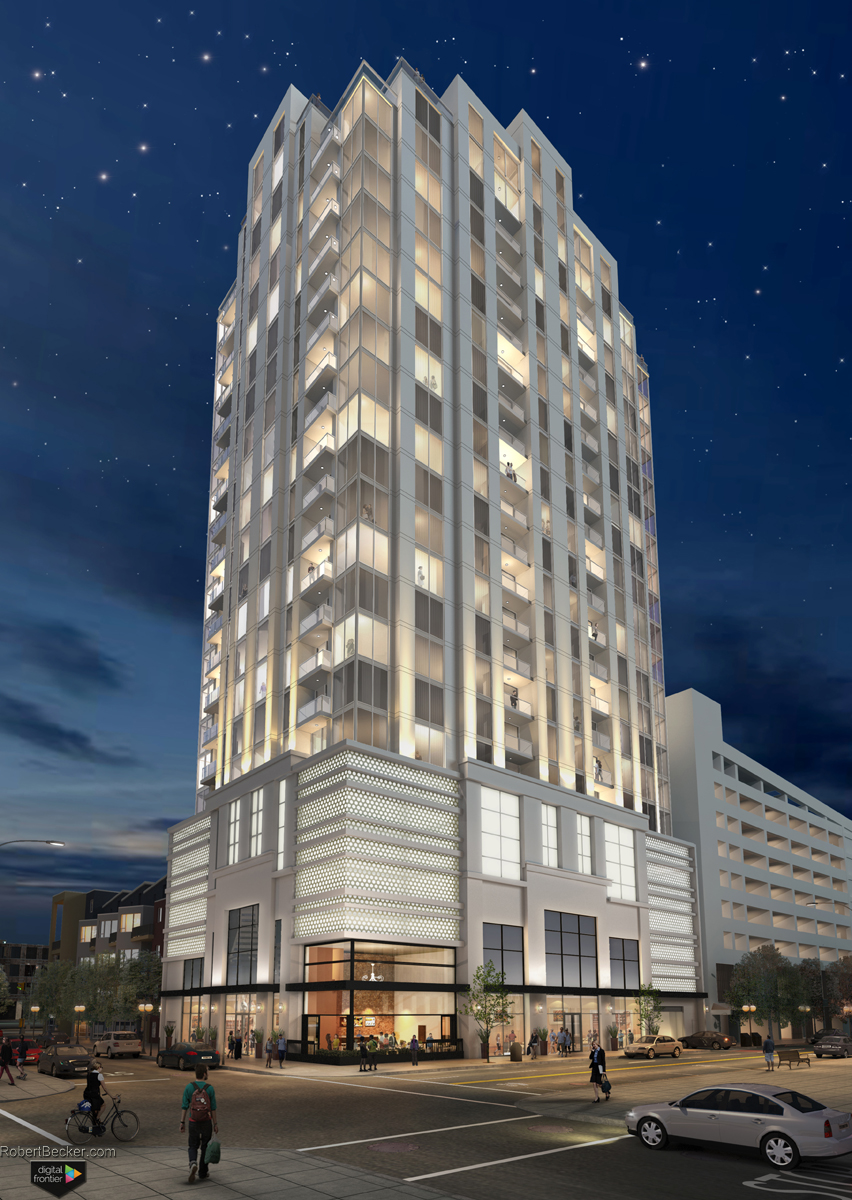 photorealistic high rise tower rendering photomontage