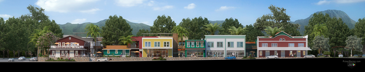 Koloa rendered mixed use architectural elevation