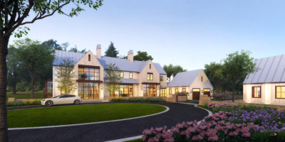 Modern Farmhouse residence digital dusk rendering