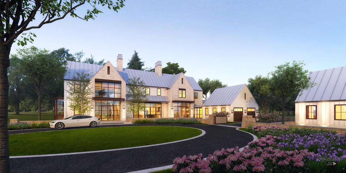 Modern Farmhouse residence digital dusk rendering
