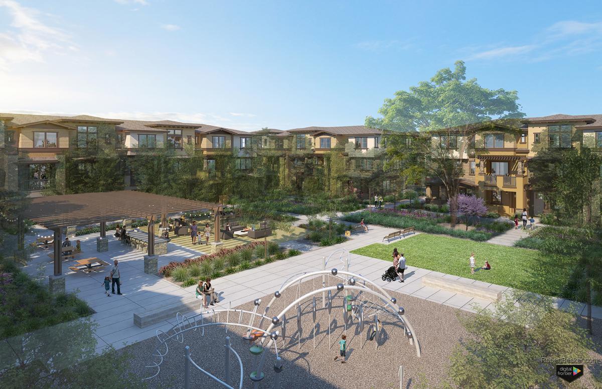 Montecito courtyard rendering