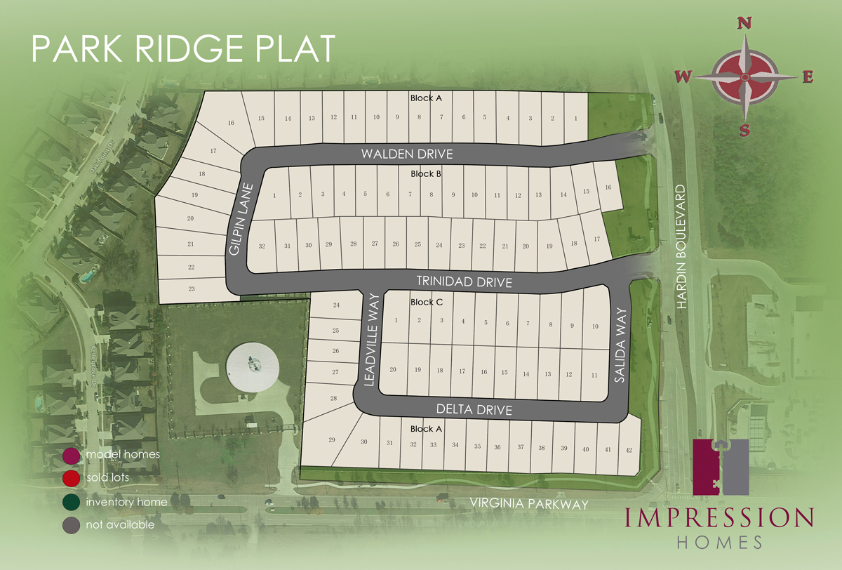Park Ridge plat rendered site plan
