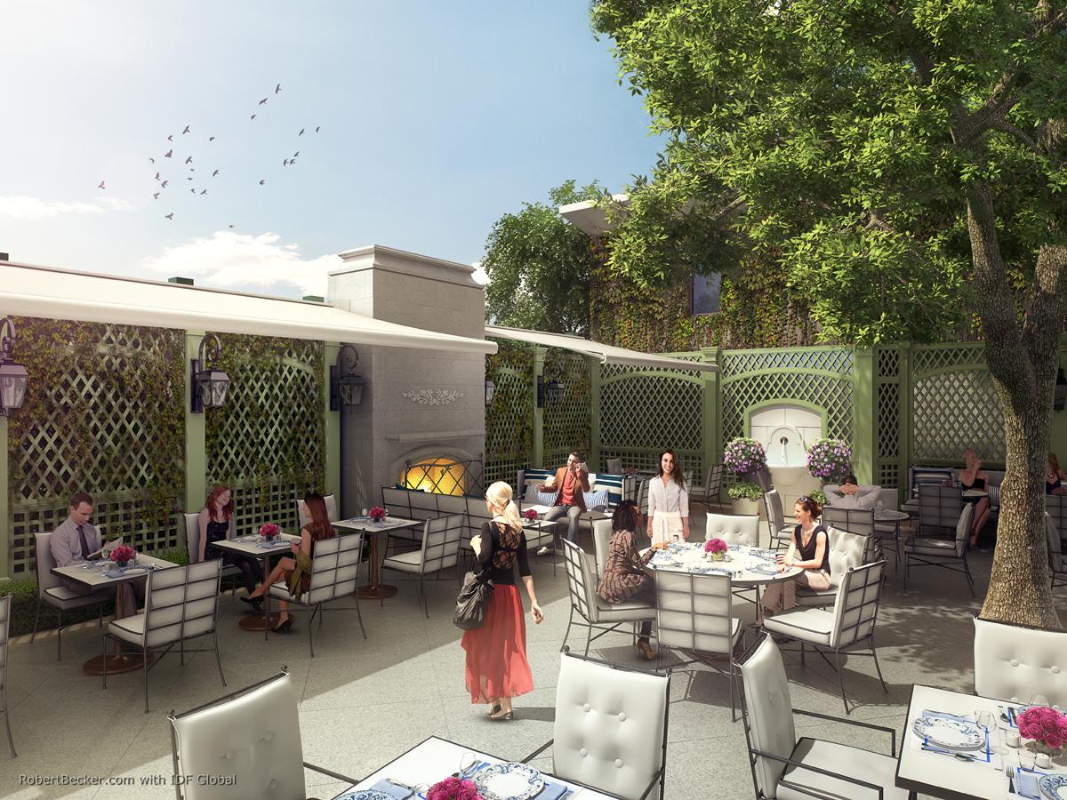 Peninsula Beverly Hills patio rendering