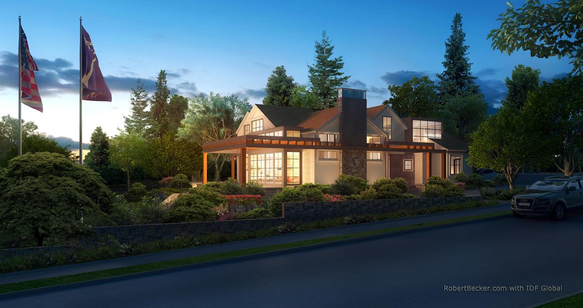 Sage residence photorealistic dusk rendering