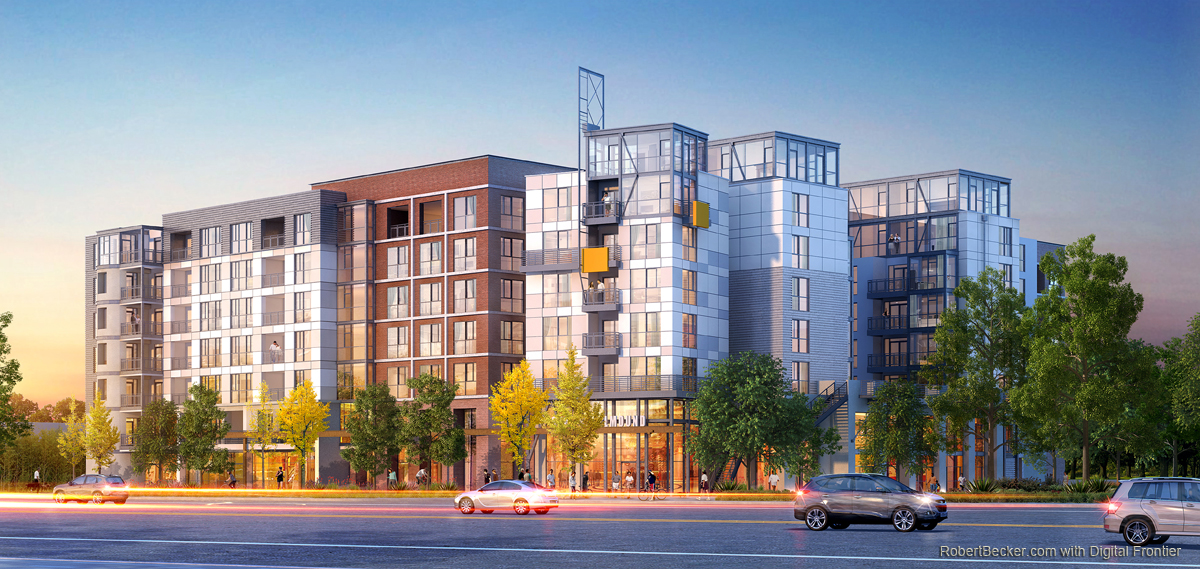 Shellmound Emeryville multifamily street rendering