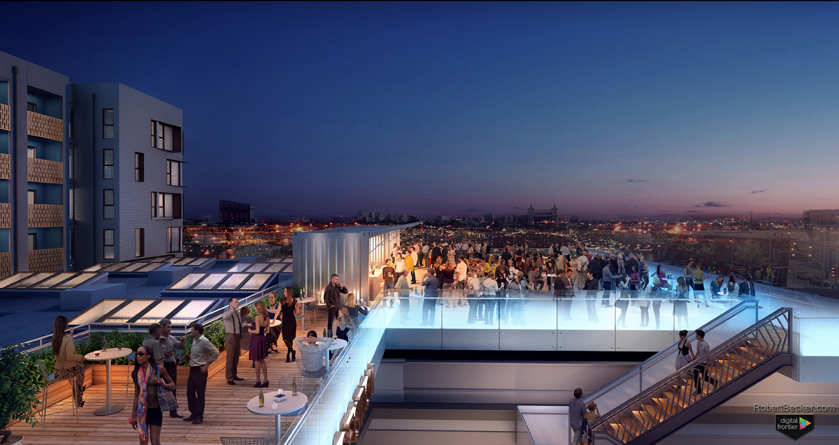 The Intersection Emeryville Roof Deck Night rendering