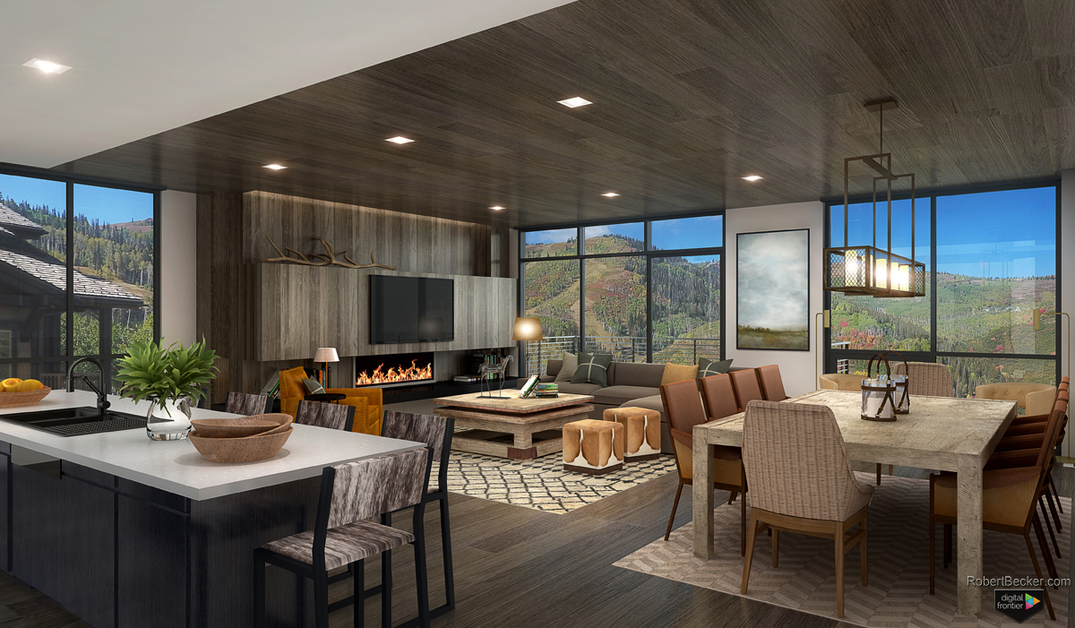One Empire Pass great room rendering