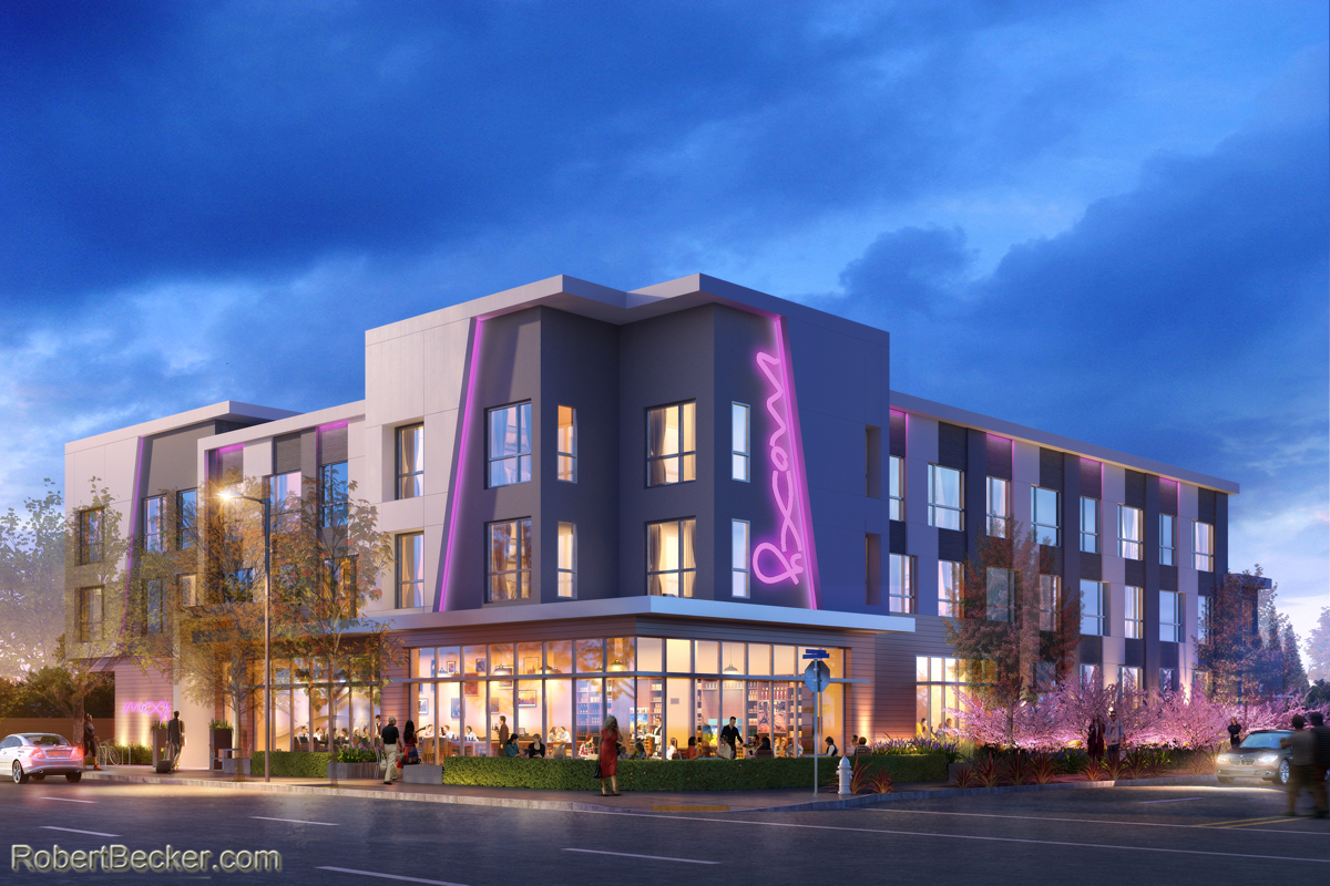 photorealistic rendering of Mountain View Moxy Hotel