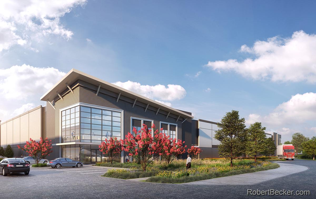 industrial building 3d rendering
