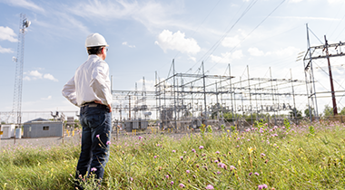 Man in field looking at electrical station