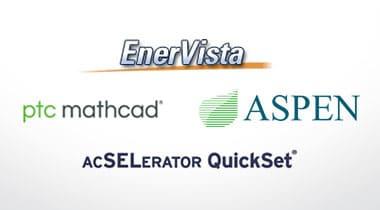 logos for EnerVista, SEL, Aspen and pfc mathcad
