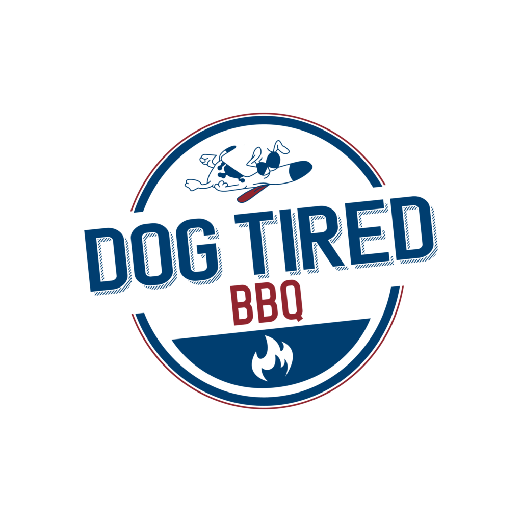 Dog Tired BBQ logo with a tired cartoon dog and flame