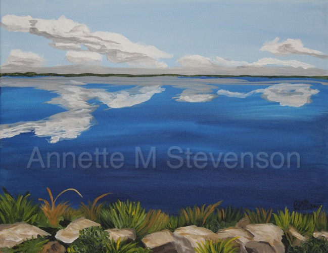 Clouds, Reflection, Waterscape, lake, landscape, lakescene, waterscene, AnnetteMStevenson, paintings