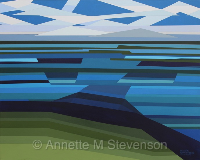 Lake, waterscape, water, water scenes, abstractpainting, straightedgepainting, annettemstevenson